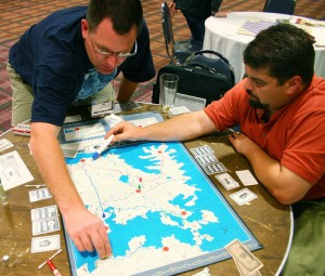A game of Iron Dragon in progress at Origins 2006. Photo by ben haley (yelahneb on Flickr)