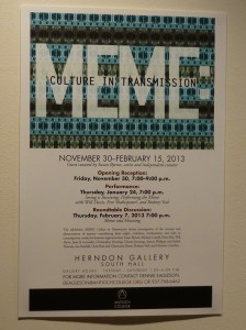 The flyer for the Meme exhibition