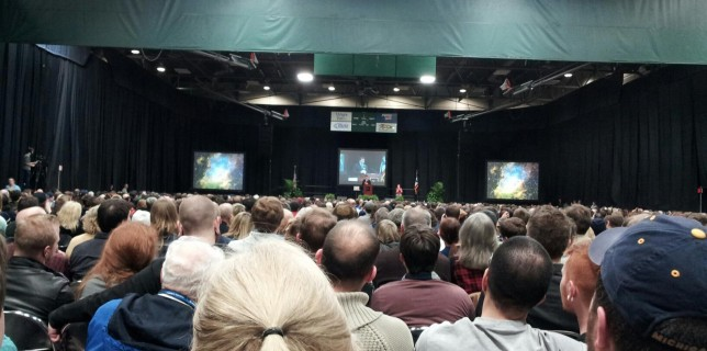 A long-distance view of Dr. Tyson on stage at the Nutter Center