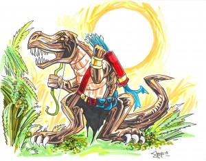 Jungle Giant Weretyrannosaurus hybrid form, art by Dan Smith